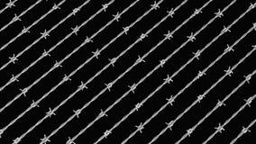 Ψαρευμένη σειρά χρωμίου Barbwire στο Μαύρο Στοκ Εικόνες