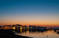 Ψαροχώρι στην αυγή στοκ φωτογραφίες