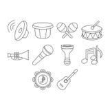 ψαλίδισμα της ψηφιακής γρατσουνιάς μονοπατιών μουσικής εικονιδίων συμπεριλαμβανόμενης απεικόνιση Στοκ Εικόνες