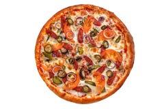 ψαλιδίζοντας απομονωμένη εικόνα pepperoni μονοπατιών πίτσα Ιταλική πίτσα στο άσπρο υπόβαθρο Στοκ φωτογραφία με δικαίωμα ελεύθερης χρήσης