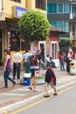 Ψεκάζοντας αφρός σε καρναβάλι σε Banos, Ισημερινός Στοκ Φωτογραφία