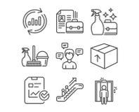 Ψεκασμός μέσων καθαρισμού, στοιχεία αναπροσαρμογών και εικονίδια κενού Κυλιόμενη σκάλα, οικιακή υπηρεσία και σημάδια πινάκων ελέγ Στοκ Φωτογραφίες