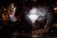 Ψεκασμός μπάρμαν πικρός στο γυαλί με φρέσκο και νόστιμο martini στοκ φωτογραφία με δικαίωμα ελεύθερης χρήσης