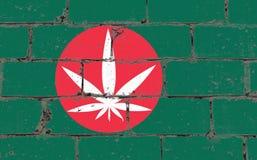 Ψεκασμός τέχνης οδών γκράφιτι που επισύρει την προσοχή στο διάτρητο Άσπρο φύλλο καννάβεων στο τουβλότοιχο με τη σημαία Μπανγκλαντ στοκ εικόνες