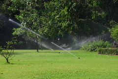 Ψεκαστήρας νερού χορτοταπήτων κήπων. στοκ φωτογραφία