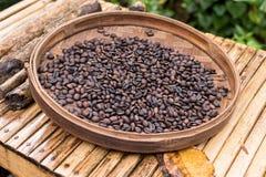 Ψημένα οργανικά arabica φασόλια καφέ Τροπικό εξωτικό νησί του Μπαλί, Ινδονησία Αυθεντικός καφές του Μπαλί σε έναν καφέ Στοκ Φωτογραφίες