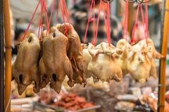 Ψημένα πάπια και κοτόπουλο σε Yowarat Chinatown Στοκ φωτογραφία με δικαίωμα ελεύθερης χρήσης