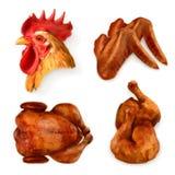 Ψημένα στη σχάρα εικονίδια κοτόπουλου Στοκ εικόνες με δικαίωμα ελεύθερης χρήσης
