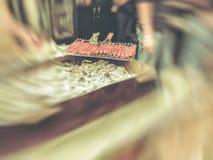 ψημένα στη σχάρα λουκάνικα Λουκάνικα που προετοιμάζονται σε μια σχάρα σχαρών πέρα από τον ξυλάνθρακα Δημοφιλή τρόφιμα σε Goergia  Στοκ Φωτογραφία