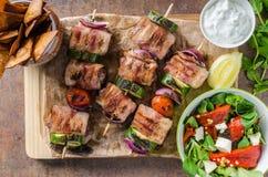 Ψημένα στη σχάρα οβελίδια βόειου κρέατος Στοκ Εικόνα
