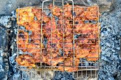 Ψημένα στη σχάρα οβελίδια κρέατος, σχάρα Στοκ Εικόνες