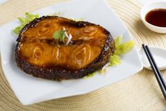 Ψημένα στη σχάρα τηγάνι ψάρια βακαλάων στο πιάτο στοκ εικόνες με δικαίωμα ελεύθερης χρήσης