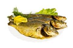 Ψημένα στη σχάρα ψάρια με τα πράσινα στο πιάτο, που απομονώνονται στοκ εικόνες με δικαίωμα ελεύθερης χρήσης