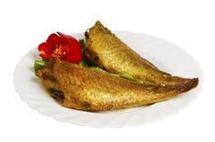 Ψημένα στη σχάρα ψάρια με τα πράσινα στο πιάτο, που απομονώνονται στοκ εικόνα με δικαίωμα ελεύθερης χρήσης