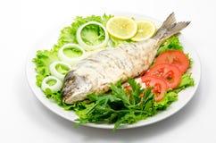 Ψημένα στη σχάρα ψάρια με την άσπρη σάλτσα στα φρέσκα λαχανικά στοκ φωτογραφίες