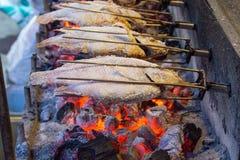 Ψημένα στη σχάρα ψάρια με τις φλόγες στοκ εικόνα με δικαίωμα ελεύθερης χρήσης