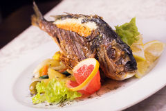 Ψημένα στη σχάρα ψάρια σε ένα πιάτο με τα φρούτα και λαχανικά στοκ φωτογραφία με δικαίωμα ελεύθερης χρήσης