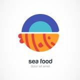 Ψημένα στη σχάρα ψάρια στο πιάτο, επίπεδη απεικόνιση Διανυσματικό σχέδιο λογότυπων tem απεικόνιση αποθεμάτων