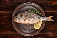 Ψημένα στη σχάρα ψάρια τσιπουρών στο πιάτο στοκ εικόνα