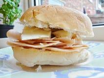 Ψημένα Τουρκία και τυρί - γαστρονομικό ιταλικό panini Στοκ εικόνα με δικαίωμα ελεύθερης χρήσης