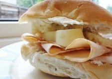 Ψημένα Τουρκία και τυρί - γαστρονομικό ιταλικό panini Στοκ Φωτογραφία