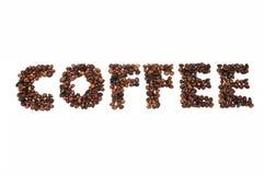 Ψημένα φασόλια καφέ στη μορφή των αλφάβητων, καφές Στοκ Εικόνα