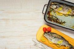 Ψημένα ψάρια με το διάστημα αντιγράφων Στοκ Εικόνες