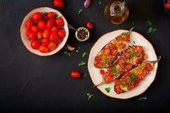 Ψημένες μελιτζάνες με τη μοτσαρέλα και ντομάτες με τα ιταλικά χορτάρια Στοκ φωτογραφία με δικαίωμα ελεύθερης χρήσης
