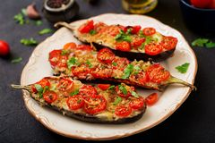 Ψημένες μελιτζάνες με τη μοτσαρέλα και τις ντομάτες Στοκ Εικόνες