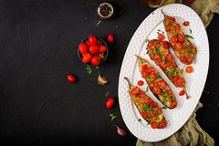 Ψημένες μελιτζάνες με τη μοτσαρέλα και τις ντομάτες Στοκ εικόνες με δικαίωμα ελεύθερης χρήσης