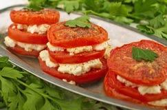 Ψημένες ντομάτες με το τυρί Στοκ Φωτογραφία