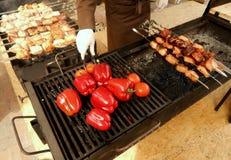 Ψημένες στη σχάρα κρέας και πάπρικα Στοκ φωτογραφία με δικαίωμα ελεύθερης χρήσης
