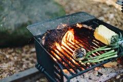 Ψημένες στη σχάρα μπριζόλες βόειου κρέατος, στρατοπέδευση ανανά Στοκ Εικόνες