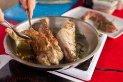 ψημένες χοιρινό κρέας φέτες λωρίδων Στοκ Φωτογραφίες