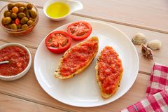 Ψημένες ψωμί φέτες με την ξυμένη ντομάτα στοκ εικόνες με δικαίωμα ελεύθερης χρήσης