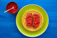 Ψημένες ψωμί φέτες με την ξυμένη ντομάτα στοκ φωτογραφία με δικαίωμα ελεύθερης χρήσης