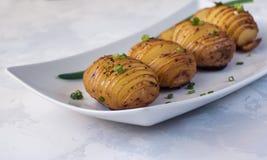 Ψημένες hasselback πατάτες με το κρεμμύδι και το καρύκευμα Στοκ Εικόνες