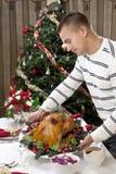 ψημένη άτομο ημέρα των ευχαριστιών Τουρκία Χριστουγέννων Στοκ Φωτογραφία