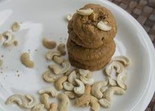 Ψημένη έννοια καφέ των δυτικών ανακαρδίων γεύματος προγευμάτων μπισκότων μπισκότο Στοκ Φωτογραφίες
