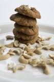 Ψημένη έννοια καφέ των δυτικών ανακαρδίων γεύματος προγευμάτων μπισκότων μπισκότο Στοκ Εικόνες