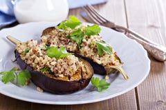 Ψημένη μελιτζάνα με quinoa Στοκ Φωτογραφίες