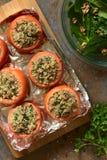 Ψημένη ντομάτα που γεμίζεται με Quinoa και το μανιτάρι Στοκ φωτογραφία με δικαίωμα ελεύθερης χρήσης