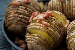 Ψημένη πατάτα με το μπέϊκον και τα καρυκεύματα στοκ εικόνα