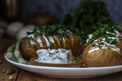 Ψημένη πατάτα σε ένα πιάτο με τη σάλτσα 1 ζωή ακόμα Στοκ Εικόνα