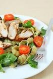 Ψημένη στη σχάρα κατακόρυφος σαλάτας κοτόπουλου και ζυμαρικών Στοκ φωτογραφία με δικαίωμα ελεύθερης χρήσης