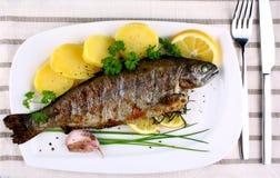 Ψημένη στη σχάρα ολόκληρη πέστροφα με την πατάτα, το λεμόνι και το σκόρδο Στοκ εικόνα με δικαίωμα ελεύθερης χρήσης