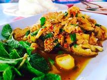 Ψημένη στη σχάρα πικάντικη σαλάτα χοιρινού κρέατος στοκ φωτογραφία με δικαίωμα ελεύθερης χρήσης