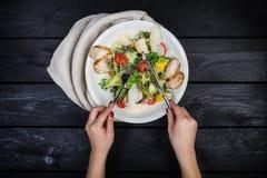 Ψημένη στη σχάρα σαλάτα στηθών κοτόπουλου, ντομάτες κερασιών και σαλάτα παγόβουνων στοκ εικόνα