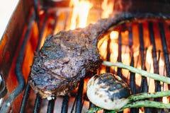 Ψημένη στη σχάρα στρατοπέδευση μπριζολών βόειου κρέατος Στοκ Εικόνα