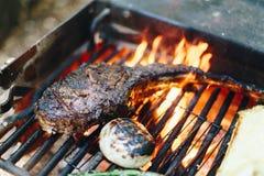 Ψημένη στη σχάρα στρατοπέδευση μπριζολών βόειου κρέατος Στοκ εικόνες με δικαίωμα ελεύθερης χρήσης